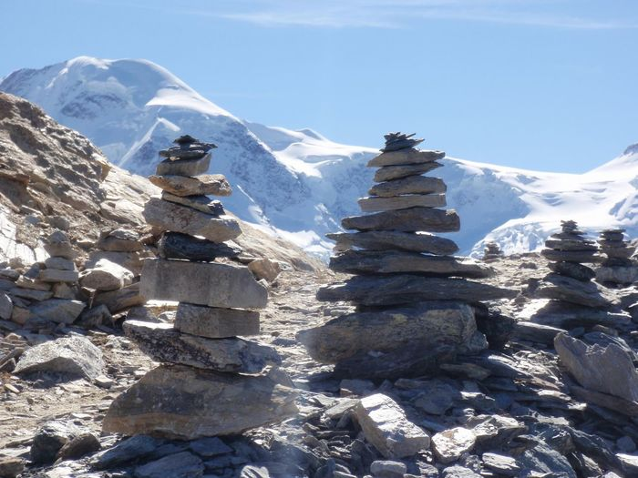 Close-up of stack of stones on mountain