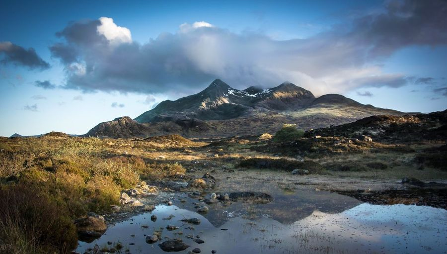 Scenic View Of Mountain Against Sky At Isle Of Skye