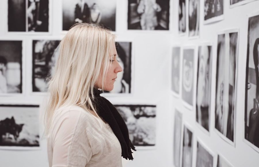 - ANALOGUE PHOTOGRAPHY NETWORK - Blond Hair Choice One Person Headshot Indoors  One Woman Only Women Portrait Only Women White Watching Photography Photowall ThatsMe Side View Looking At Things Check This Out EyeEm Gallery Place Of Heart Love Yourself