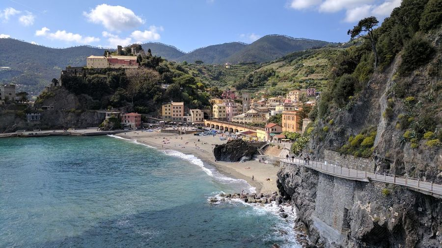 Landscape Beach Vacations Outdoors Mountain Tree Travel Destinations Sand Water Architecture Day No People Nature Sky Travel Cinqueterre Tourism Cinque Terre Arhitecture City Sea Building Exterior Built Structure Vacations Italy