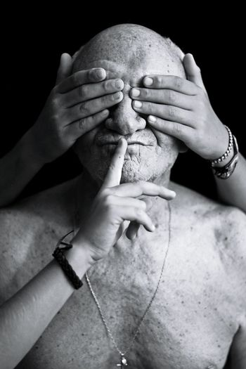 Scchhhhhhh!!!!!.... Human Body Part Black And White Person Adult Black Background People One Person Men Grandfather Love Mature Adult From My Point Of View Simple Beauty Purist No Edit No Filter Moment Of Silence See The World Through My Eyes Blanco&negro Black&white Special Moments Hand Oldman Lifestyles Human Finger Love Happiness Real People