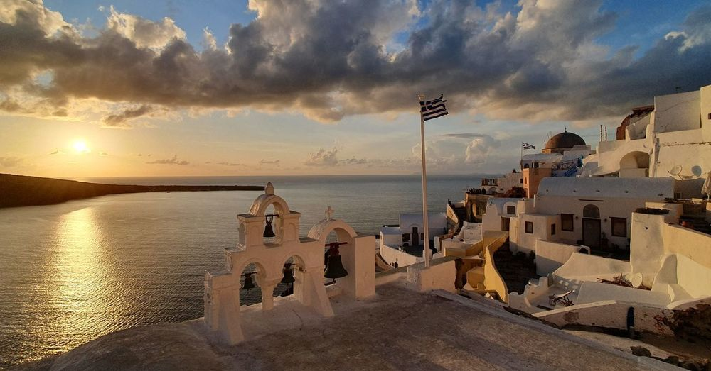 Panoramic view of sea against sky during sunset