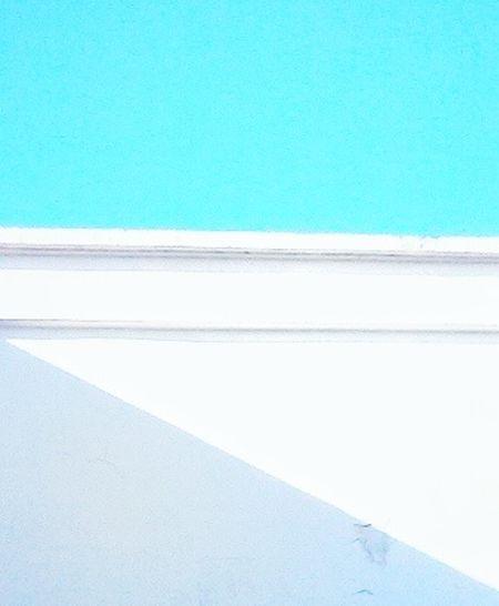 Geometric Shadow Triangle Rectangle White Wall Clear Blue Sky
