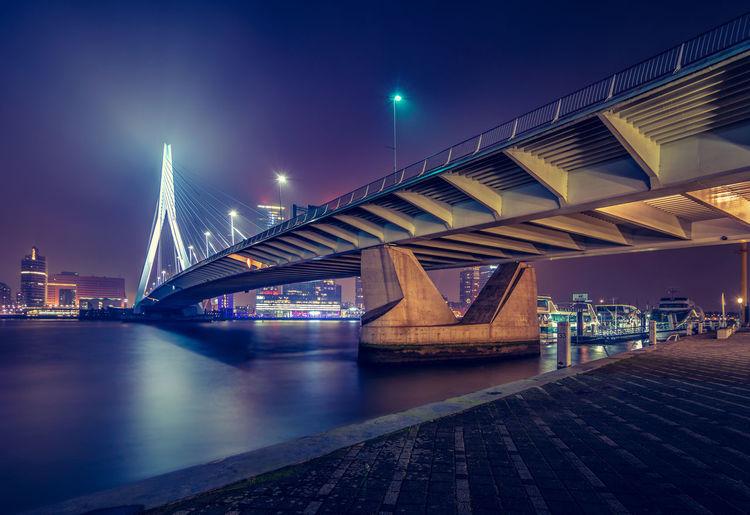 The awesome city of Rotterdam at night. Architecture Bridge City Cityscape Erasmusbrug Landmark Maas Netherlands Night Rotterdam Structure, The Architect - 2017 EyeEm Awards