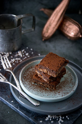 Close-up of brownie in plate on table