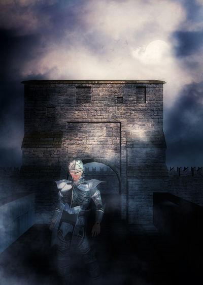 Digital composite image of man sitting against building
