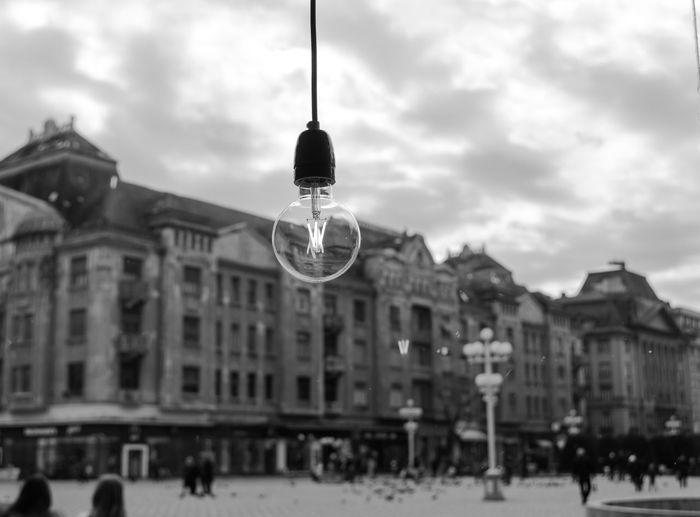 Square PiataVictoriei Piata City Cityscape Blackandwhite Plaza Piazza Lampadina Light Bulb Light Bianco E Nero Bw_collection Landscape Timisoara Sky And Clouds Sky Romania