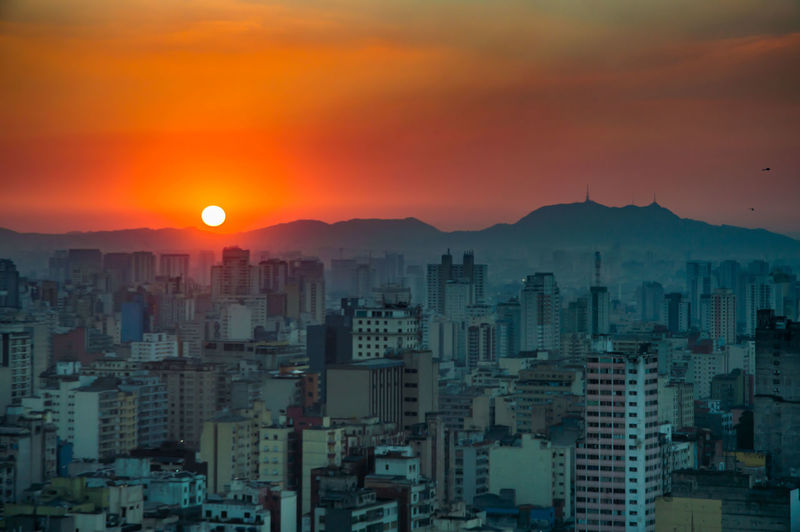 Architecture Building Exterior City Cityscape Mountain Nature No People Outdoors Sampa Sky Skyscraper Sunset