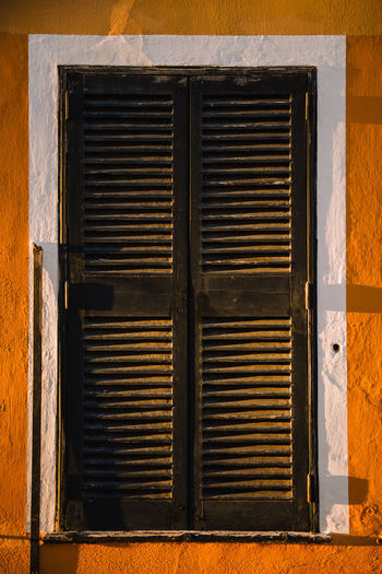 Close-up of closed shutter