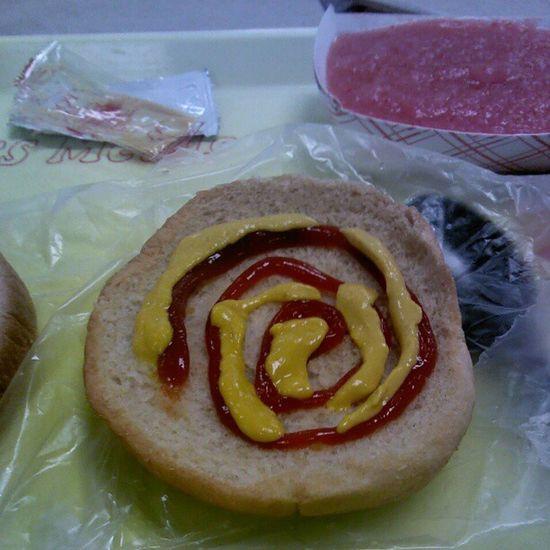 My Creation On My Bun Lolol (: #Dlunch #Chickensandwich #Applesauce #Whs . Applesauce  WHS Chickensandwich Dlunch