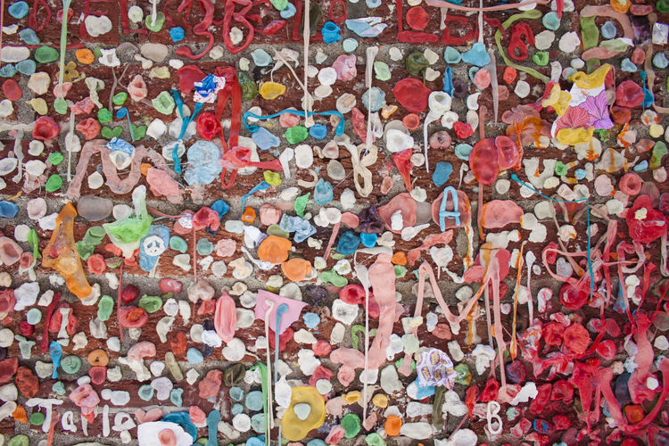 Gum wall Multi Colored Full Frame Backgrounds Abundance Bubble Gum Wall - Building Feature No People Creativity Close-up Large Group Of Objects Pattern Art And Craft Street Art
