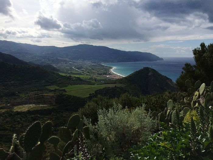 Sicily Coast Nature View Italy Italia Clouds And Sky Traveling Green Plants Cacti From Above