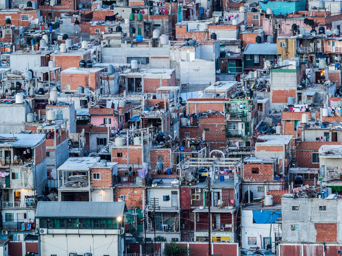 Shanty town dwellings in one of the poorest parts of Buenos Aires Buenos Aires Architecture Building Exterior Built Structure City Cityscape Crowded Day Full Frame High Angle View Outdoors Residential Building Shanty Town Slum