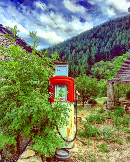 Fuel pump in the mountains in the ardèche in France Red Tree Fuel Fuel Pump Fuel Station Nature Outdoors Growth Sky Day No People Cloud - Sky Plant Beauty In Nature Technology
