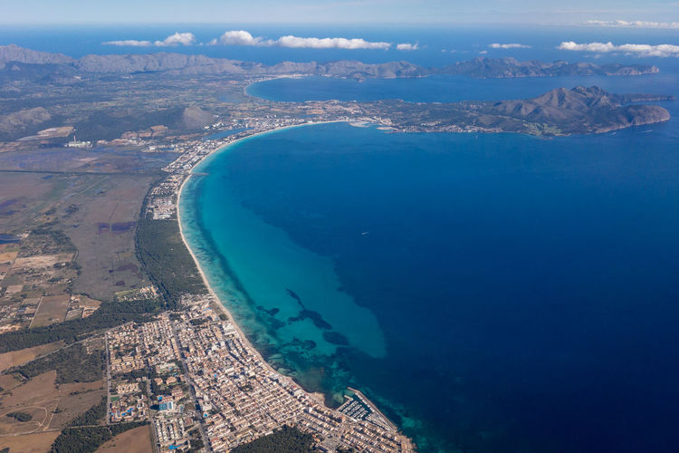 Aerial view of the northeast coast of majorca mallorca with badia d alcudia and can picafort