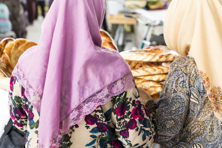 Rear view of women in hijab at market