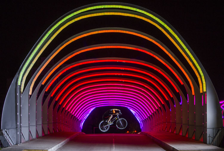 Action Architecture Built Structure Connection Direction Glowing Illuminated Indoors  Light Lighting Equipment Mode Of Transportation Motion Multi Colored Night Pattern Sport Transportation Trial