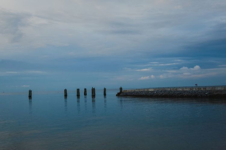 Sunset Clouds Ocean Fort Morgan Alabama Mobile Bay Pier Water Sky Cloud - Sky Tranquility Scenics - Nature Beauty In Nature Post Tranquil Scene Sea Wooden Post Day Nature Waterfront No People Wood - Material Reflection Blue Outdoors