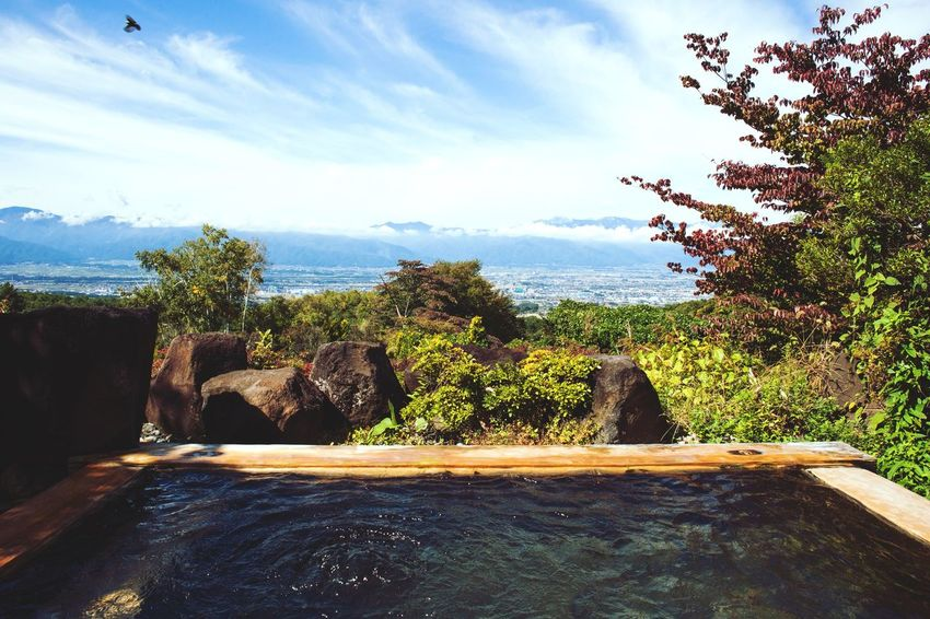 Sky Nature Water Day Rock - Object Sea Tree Beauty In Nature Cloud - Sky Scenics Tranquility No People Tranquil Scene Outdoors Horizon Over Water Hot Spring Onsen Nagano Japan Lifestyle Paradise