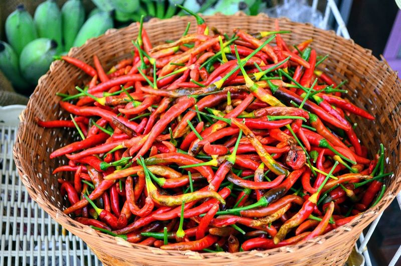Red peppers in a basket Red Market Basket For Sale Retail  Close-up Food And Drink Red Chili Pepper Spice Green Chili Pepper Dried Food Pepper Dried Fish  Hazelnut Market Stall Display Chili  Chili Pepper
