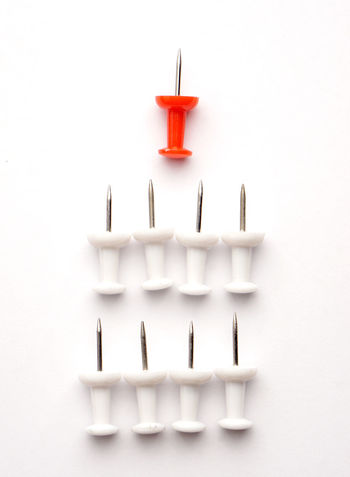 Leadership concept of red push pin leading among white Noted Conceptual Growth Push Pins Pushpin Red Leadership Successful Profit New Business Close Up Finance Education To Do List Pin EyeEm Selects White Background Studio Shot Red Colored Background High Angle View Neat