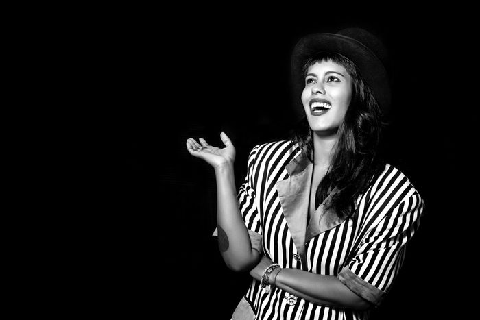Black Background Lifestyles Studio Shot Young Adult Eyeemphoto Portrait Of A Woman Woman Canonphotography Canon Blackandwhite Black & White The Week Of Eyeem Topper Top Hat Laughing Laugh Laughing Out Loud Ha Haha Funny Come On! Person Portrait Showcase August Monochrome