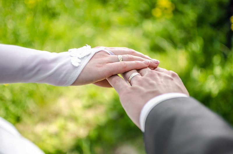 Cropped Image Of Newlywed Couple Hands