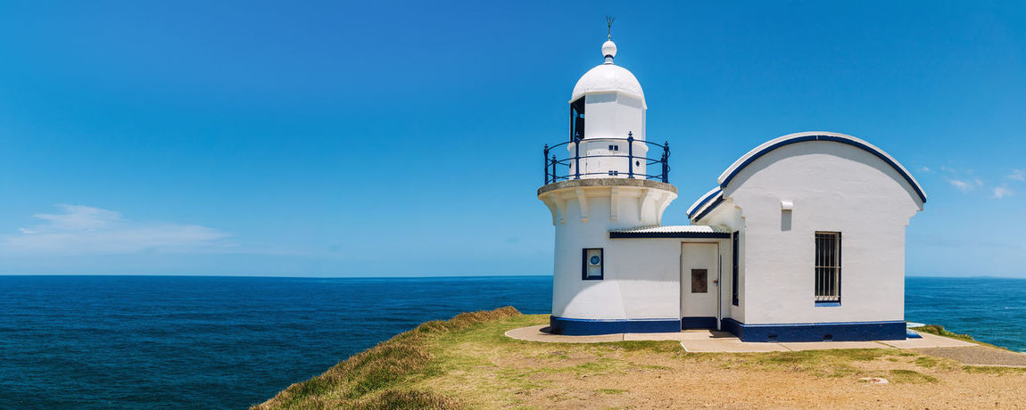 Tacking Point Lighthouse Australia New South Wales  Tacking Point Lighthouse Architecture Beauty In Nature Blue Building Exterior Built Structure Day Horizon Over Water Lighthouse Nature No People Nsw Ocean Outdoors Pacific Ocean Port Macquarie Scenics Sea Sky Tranquility Water First Eyeem Photo