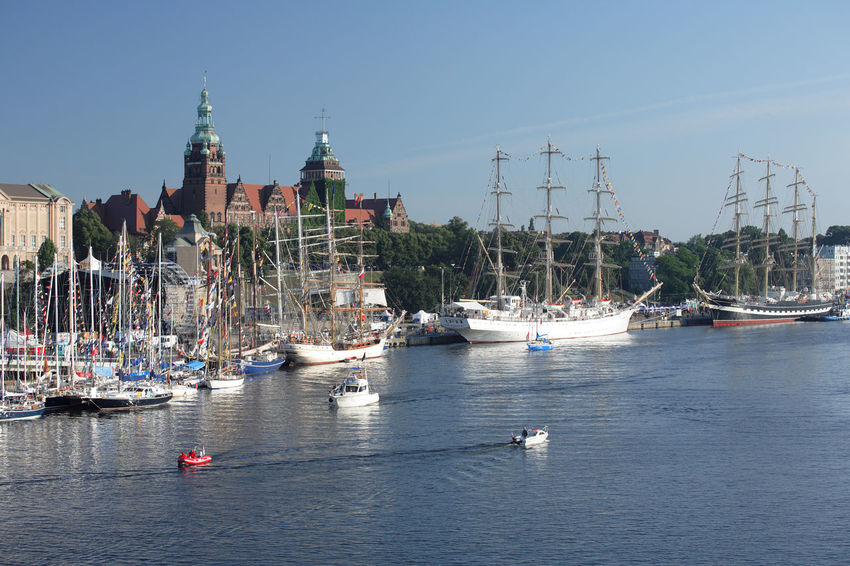 Odra Poland Szczecin Tall Ship Yachts Architecture Boat Harbor Mast Mode Of Transport Moored Nautical Vessel Polen River Sailboat Sailing Sailing Boat Sailing Boats Ship Stettin Transportation Travel Destinations Water Yacht Yachting