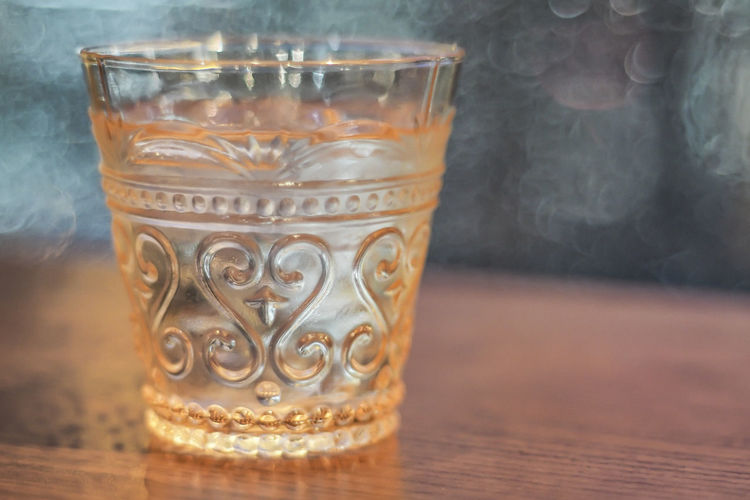 Close-up of glass on table