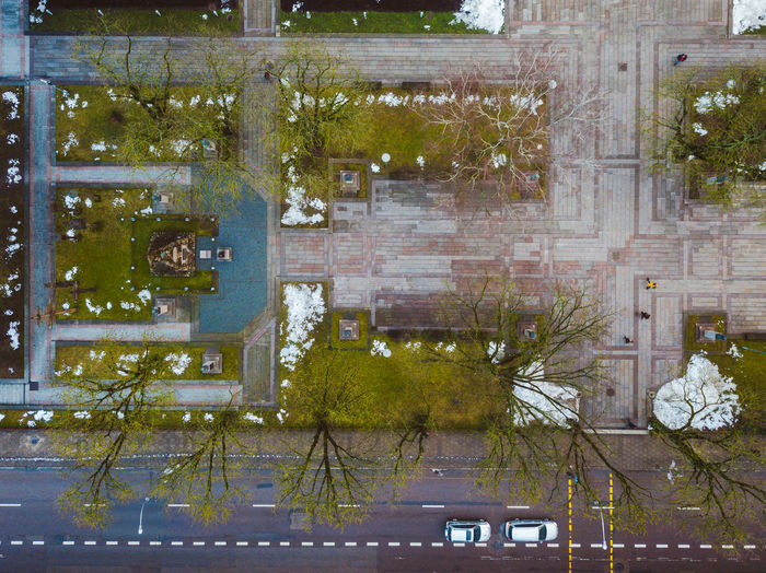 Square City Drone  Winter Aerial View Architecture Building Exterior Built Structure Day Growth Mavic Mavic Pro Outdoors Park Patterns People People In Motion Plant Top Down View Tree
