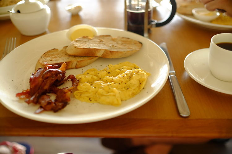 Breakfast Served In Plate On Table