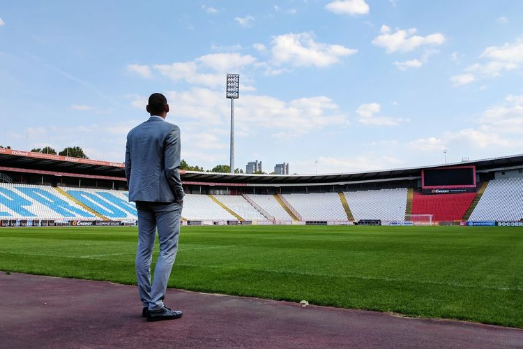 Full Length Sport One Person Standing Crvena Zvezda Rear View Adult People Athlete Red Star Day Healthy Lifestyle Stadium Outdoors Sky Competition Young Adult Playing Field Grass Stadium Coach Marakana Football Belgrade Serbia