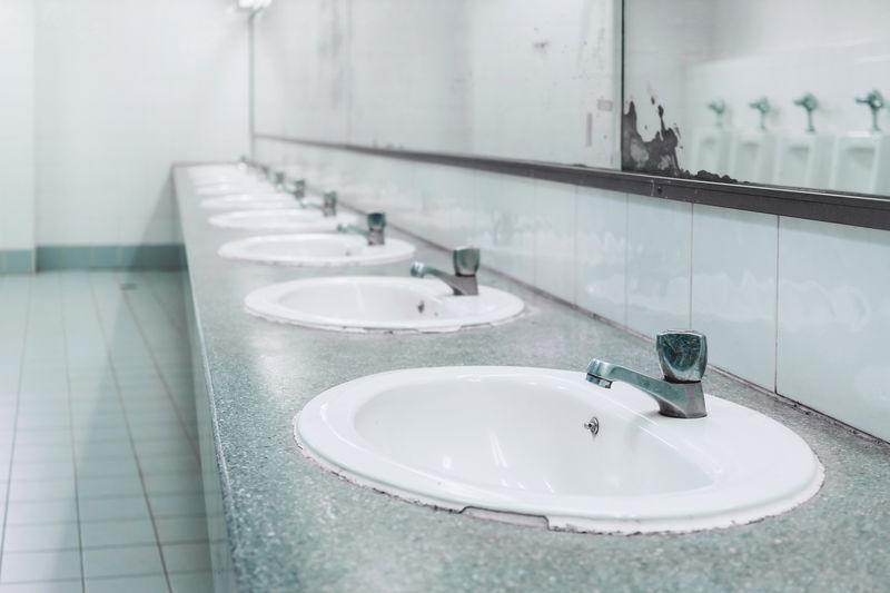 Sinks in public restroom