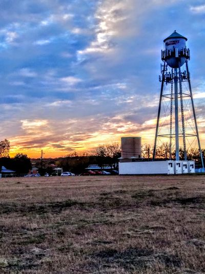 Color Clouds Watertower Tower Field Built Structure Cloud - Sky Sky Industry No People Architecture Sunset Water Tower - Storage Tank