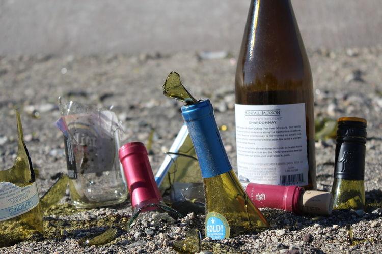 Broken Glass Wine Bottle Wine Glass Beer Glass Bottle Broken Close-up Day No People Outdoors Wine Wineglass
