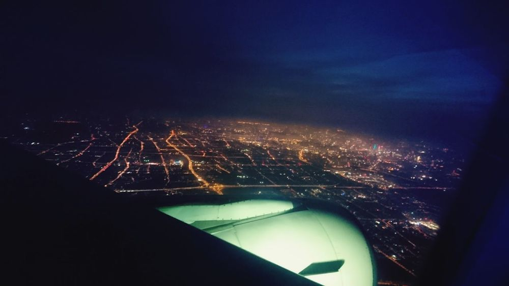 Human Meets Technology Landscape Scenery Onplane Streets Night Lights First Eyeem Photo