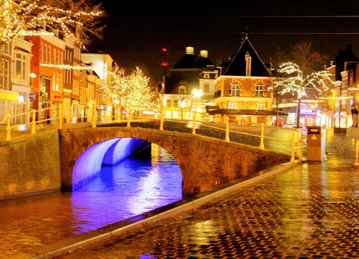 Architecture Canal City Cityscape HDR HDR Collection Illuminated Leeuwarder Night Reflection Rob Handgraaf Fotografie Water