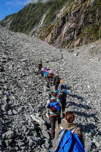 Getting started on the Hike up Franz Josef Glacier in New Zealand Adventure Adventure Buddies Day Escapism Franz Josef Glacier Getting Away From It All Glacier Leisure Activity New Zealand Outdoors Real People Recreational Pursuit