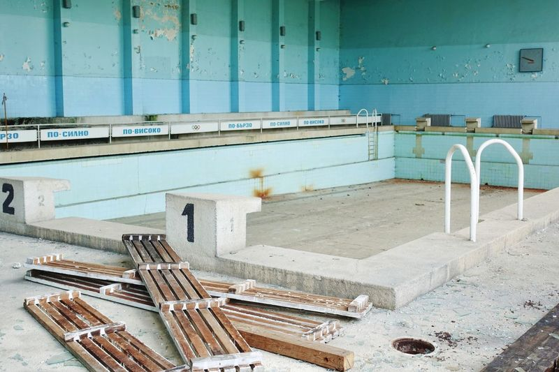 Abandoned olympic indoor swimming pool Pool Swimming Indoor Bulgarian Water No People Built Structure Metal Architecture Wall - Building Feature Day Domestic Room Home Bathroom Indoors  Old Sink Flooring