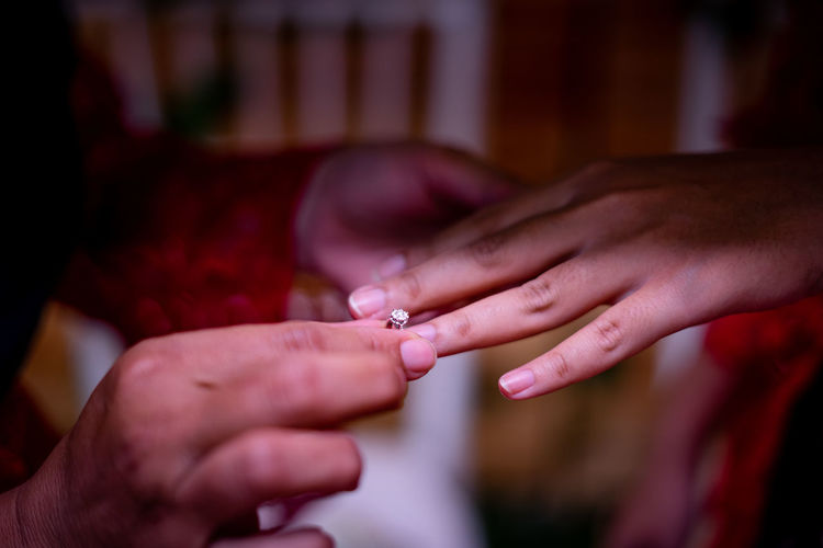 Close-up of couple exchanging rings during wedding ceremony