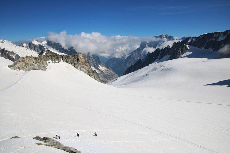 Scenic view of monte bianco glacier against sky