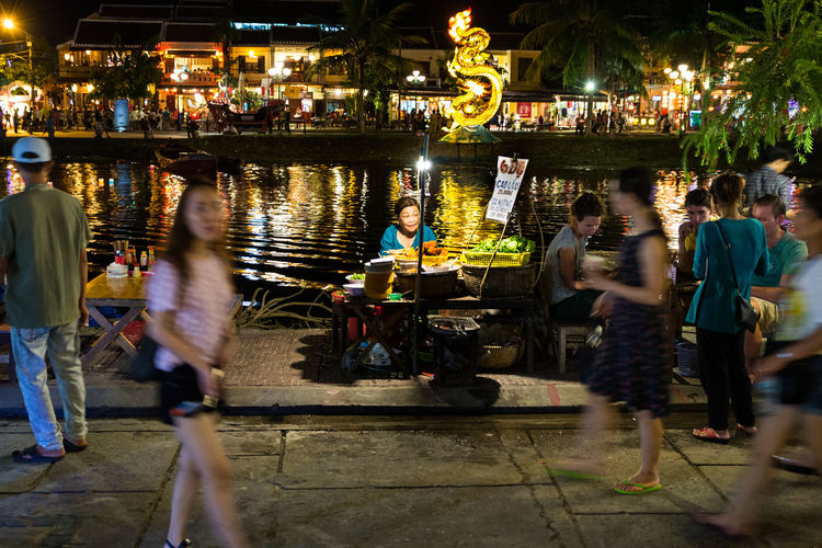 EyeEmNewHere Cao Lau Outdoors Transportation Water Lifestyles City Night Large Group Of People Motion Blurred Motion Illuminated Crowd Real People Group Of People