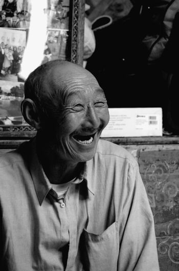 Mongolia Adult Black And White Emotion Front View Happiness Headshot Leisure Activity Lifestyles Nomadic Nomadic Life One Person Portrait Real People Senior Adult Senior Men Smiling Waist Up Yurt Монгол улс гэр
