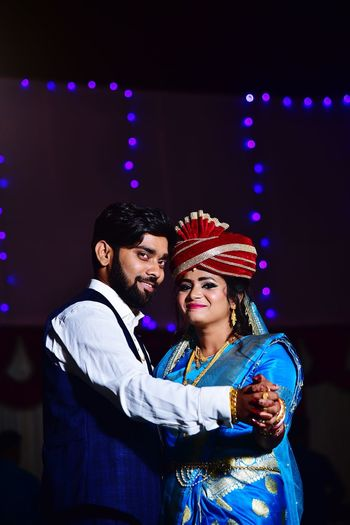 Stage show of young couple in happy mood