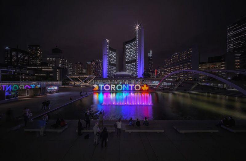 Financial District  Nightphotography Toronto Architecture Building Building Exterior Built Structure Canada City Cityscape Illuminated Long Exposure Office Building Exterior Skyscraper