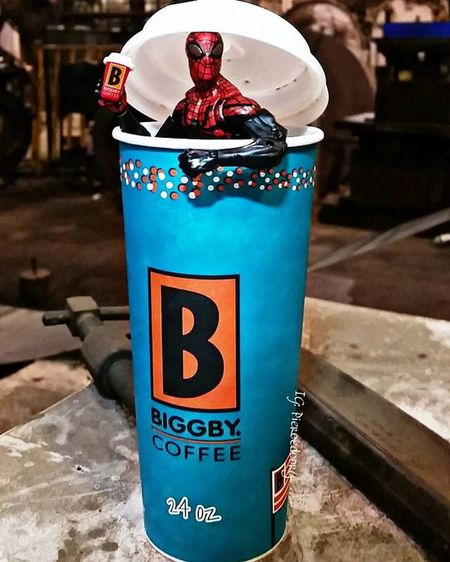 Um..excuse me, theres a spiderman drinking coffee in my coffee. Can I get a new one? Fwebruary Day 6 Spiderman Realworldtoys