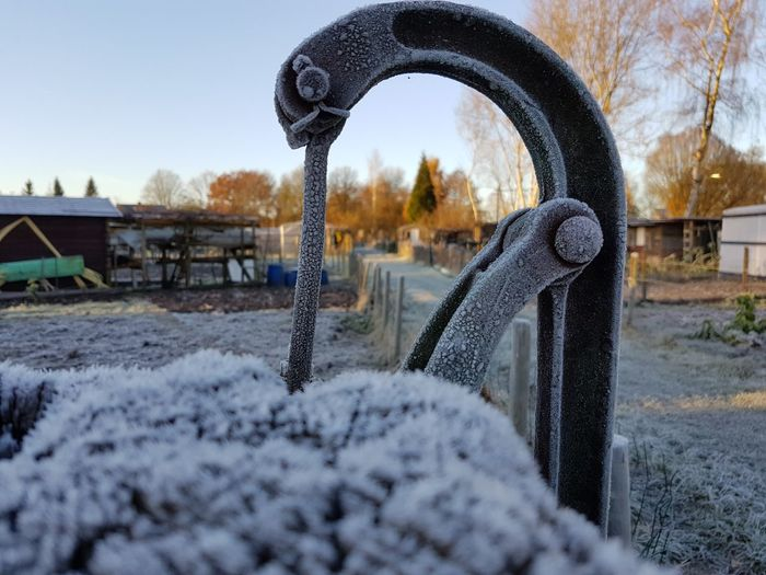 Winter Cold Temperature No People Close-up Outdoors Waterpump Fence Frosty Mornings
