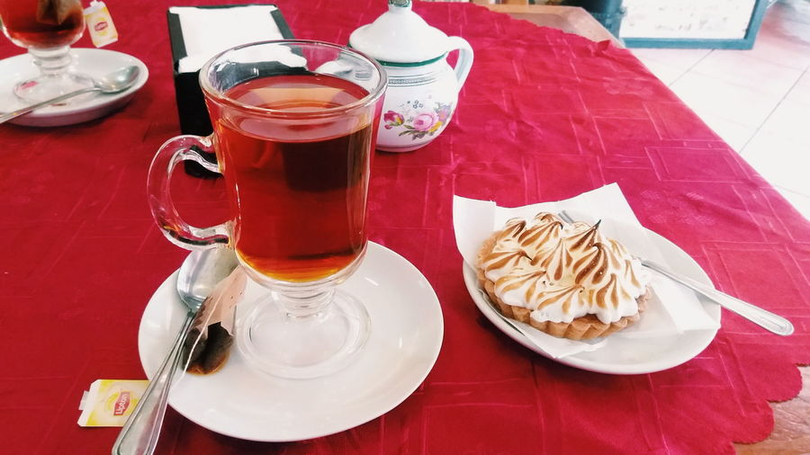 🍵🍰 Food And Drink Table Freshness Food Drink Indoors  Plate High Angle View Still Life Refreshment Spoon Red Ready-to-eat Tea Cake Lemon Pie Tea Time Tea Lovers VSCO Vscocam