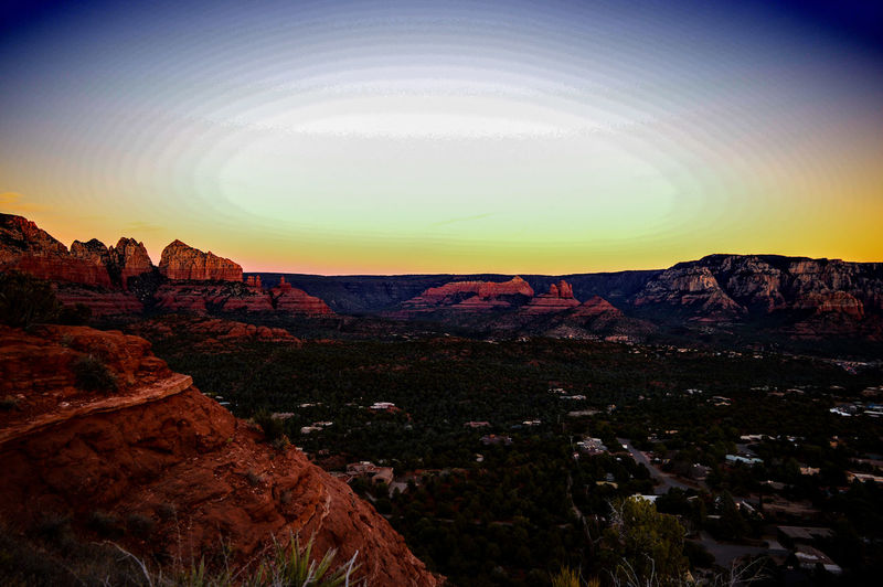 Dont let the sun go down. Sunset Cloudless Yellow Rocks Sedona Overlook Outdoors Arizona Sky Beautiful Nature Outdoor Photography Gorgeous Red Rocks  Scenic View Serine City House Tree